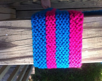 Hot pink and blue striped scarf **price drop**