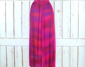 Vintage tye dye ombre hot pink crinkle gauzy maxi skirt/long semi sheer skirt/festival skirt