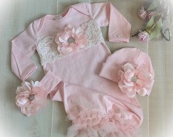 Baby Girl Coming Home Outfit, Newborn Girl Gown, Pink and Ivory Coming Home Gown, Baby Girl Take Home Outfit, Newborn Girl Layette