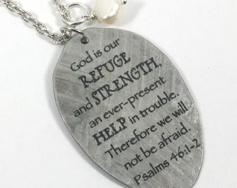 Psalms 46:1-2 Vintage Silver Plate Teaspoon Necklace, Silverware Jewelry