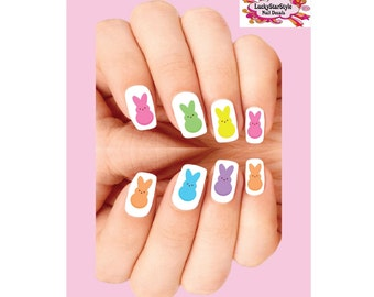 Waterslide Nail Decals Set of 20 - Easter Marshmallow Bunnies Assorted