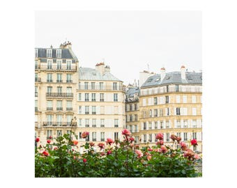 Square Photography Print - Quai d'Orléans Buildings with Flowers - Paris Architecture Photography - Parisian Home Decor