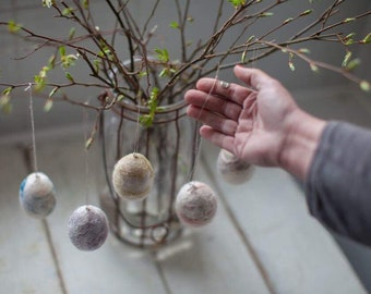Easter hanging decorations Twig tree Spring egg decor Easter egg personalized  Easter tree Easter felted eggs Handmade Wool eggs- set of 5