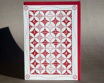 Cathedral Window Quilt Letterpress Card