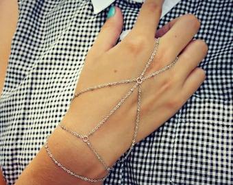 silver slave bracelet, silver hand chain, silver ring bracelet, silver slave bracelet, ring bracelet, slave ring, silver hand piece
