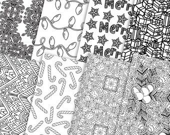digital gift wrap christmas 8 pack printable coloring page christmas gift wrap great - Coloring Christmas Cards 2