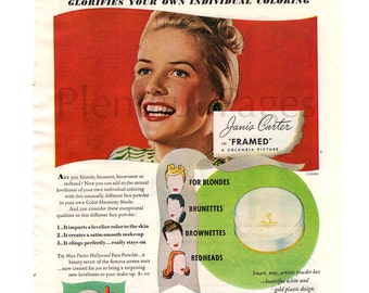 1947 Max Factor Vintage Ad, Face Powder, 1940's Beauty, Retro Beauty, 1940's Make-Up, Advertising Art, Janis Carter, Color Harmony Make-Up.