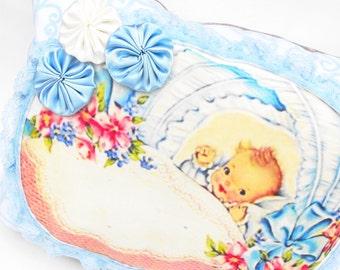 Baby Boy Nursery Pillow Handmade Sky Blue Felt Swirl Chiffon Bed Child's Room Decor - Pastel Bassinet Crib Satin Rosette Bedding Shower Gift