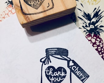 Mason jar thank you stamp//Thank you Stamp//name stamp//hand carved