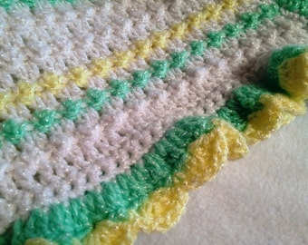 Green and Yellow Baby Afghan, #CA-1