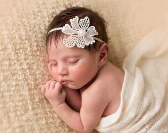 Vintage Newborn Headband Photography Prop-Baby Flower Headband-Baby Girl Head Band-Pearl Halo-Flower Girl Headband-Ivory Headband