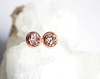 Rose gold earrings stud - rose gold earrings bridesmaid - druzy earrings - bridesmaid gift earrings - rose gold druzy studs -bridesmaid gift