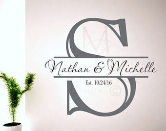 Personalized Vinyl Decal/Initial/First Names//Custom Vinyl Decal/Custom Decals with Initial and First Names/Wedding Gift/Custom Decal
