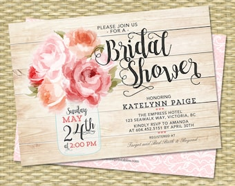 Bridal Shower Invitation, Mason Jar Invitation, Floral Bridal Shower Invite, Pink Peonies Rustic Bridal Shower Invitation, ANY EVENT