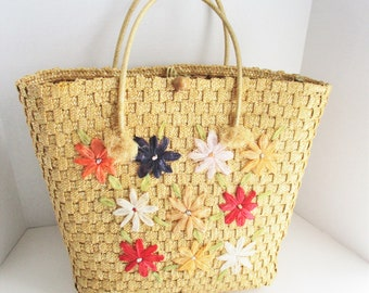 Vintage Straw Tote Bag Raffia Daisies Spring Summer Colors Beach Bag Resort Wear
