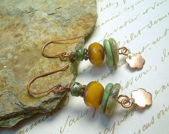 Boho Turquoise Stacked Bead Copper Charm And Czech Bead Dangle Earrings