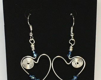 Blue Heart Earrings with Swarovski Crystals