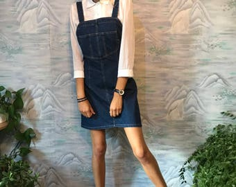 Blue Denim Dress Zipper back Dress Sleeveless Cotton Jeans Dress Sarafan Dress Denim Summer Dress Medium to Large Size