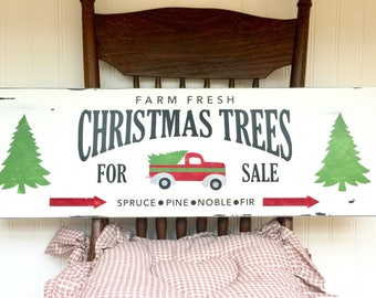 Rustic Christmas Decor - Christmas Trees for Sale Sign - Christmas Decor - Farmhouse Christmas Decor - Red Truck Rustic Christmas Sign