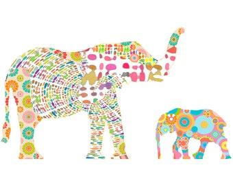 Baby girl nursery elephant art print, elephant nursery art, elephant nursery print, baby nursery abstract nursery art, kids baby shower gift