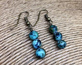 African turquoise drop earrings on bronze earwires