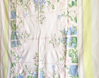 Beautiful Vintage Linen Tablecloth Square Petunias Floral Garden Window Blue Pink Flowers Large White Table Cloth