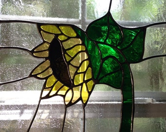 Stained Glass Sunflower Panel