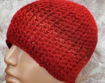 Crochet beanie hat, rust tan brown tweed, striped hat,mens womens crochet hat, hiking biker hat, rust brown hat, chemo cap, mens hat