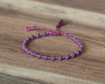 Purple spiral bracelet, macrame bracelet, hippie boho, stack bracelet, gift for her, elegant bracelet