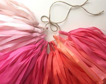 WILD ROSES tissue paper tassel garland / dessert bar decor / bright coral wedding decorations / princess theme first birthday party