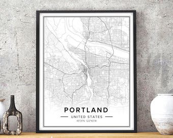 Portland Map, Portland Art, Portland Print, Portland Poster, Portland Wall Art, Portland Or Map, Portland Oregon Art, Map Wall Art, City Map