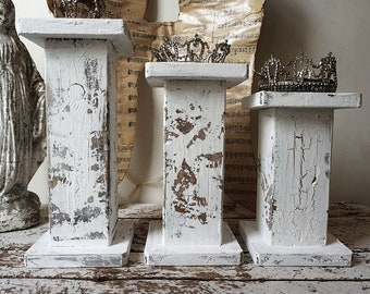 Shabby cottage candle holders handmade painted white distressed candlesticks or wood displays French farmhouse decor anita spero design