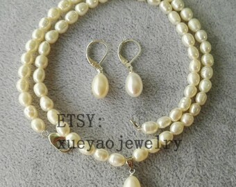 PEARL Set- 4-5 mm white freshwater pearl necklace pendant & earrings set