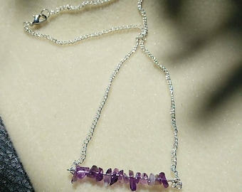 Amethyst Chip straight bar necklace