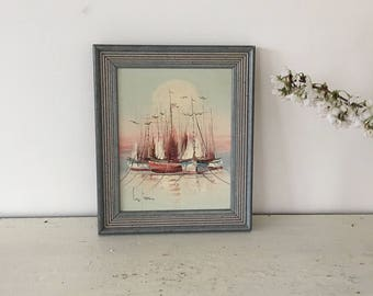 Vintage French oil painting with frame