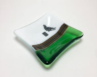 Fused glass, cowgirl plate,handmade glass dish, dish, art, home decor, jewelry dish, candy dish, spoonrest, dish, fused glass plate
