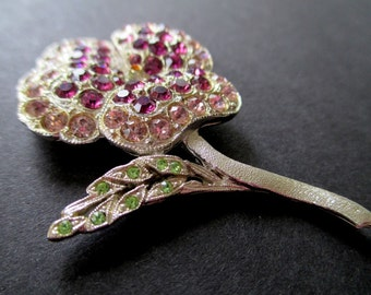 FLOWER Pin/Brooch * Pink * Purple * Green Rhinestones * PANSY Flower Pin * Classic Vintage