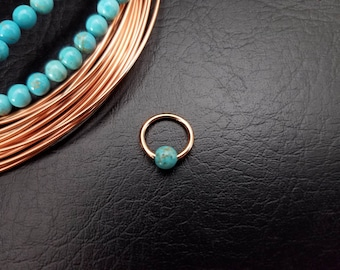 """16g 14g 5/16"""" Rose Gold Turquoise Stone Captive Bead Ring Small Nostril Hoop Daith Helix Ring Tragus Cartilage Septum Lip Steel"""