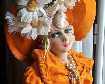 Antique French boudoir Doll / Poupée Boudoir Orange
