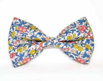 Blue Red and Yellow Floral bow ties, boy bow tie, baby bow tie, adult bow tie, men's bow tie, wedding bow tie, floral bow tie, groomsmen