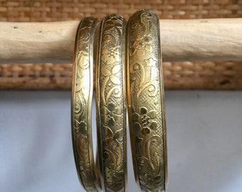 Vintage brass bracelet trio, brass bracelet