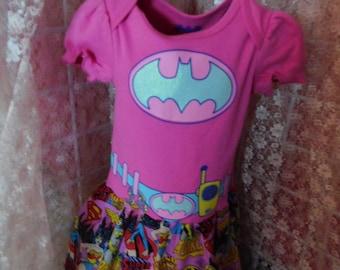 Baby Girl Super Hero Bat Girl Onesie Pink Dress Bat Woman Wonder Woman Super Girl Bat Girl Outfit Bat Girl Birthday Bat Girl Dress Sz 12 MO