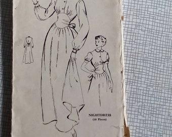 "1950s Nightdress - 36"" Bust - Bestway C.987 - Vintage Sewing Pattern"