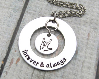 I Love You Necklace - Hand Stamped Jewelry ASL Sign Language Necklace - Personalized Necklace - Personalized Jewelry - Stamped Necklace xmas