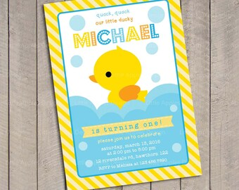 Duck Invitation / Rubber Duck invitation / Rubber Duck Birthday / Rubber Duckie Birthday / first birthday invitation