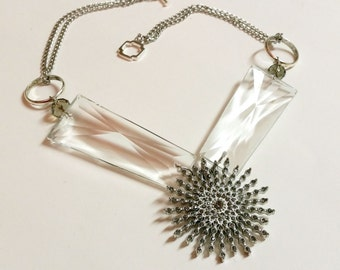 Snowburst- Vintage Chandelier Glass Assemblage Necklace