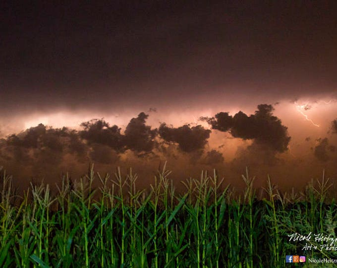 Farm Corn Field Photo lightning Storm Thunderstorm Photography Storm Photo South Dakota Photography Lightning Photography by Nicole Heitzman