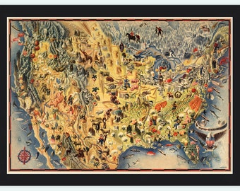Vintage Map of United States America Pictorial map