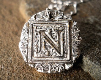 MOST POPULAR  Typeface Handmade Wax Seal Jewelry, Silver Initial Necklace . PERSONALIZED Gift ~ Jewellery ~ Your daily Jewels