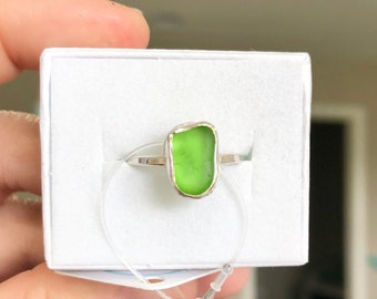 Lime/Kelly Green Sea Glass Ring - Sterling Silver - Genuine Sea Glass - Size 7.5